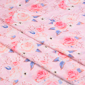 Pink-Blue and Cream Flower Silk Crepe Fabric-18111
