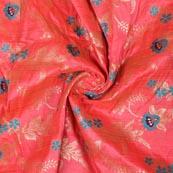 Pink Blue and Golden Floral Banarasi Silk Fabric-9325