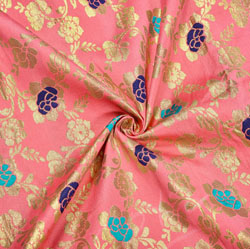 Pink Blue and Golden Floral Brocade Silk Fabric-12449