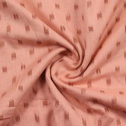 Pink Brown Block Print Cotton Fabric-16013