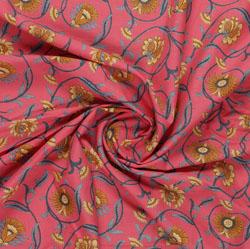 Pink Brown Block Print Cotton Fabric-16039