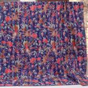 Pink-Brown and Royal Blue Handmade Floral Design Kantha Quilt-4383