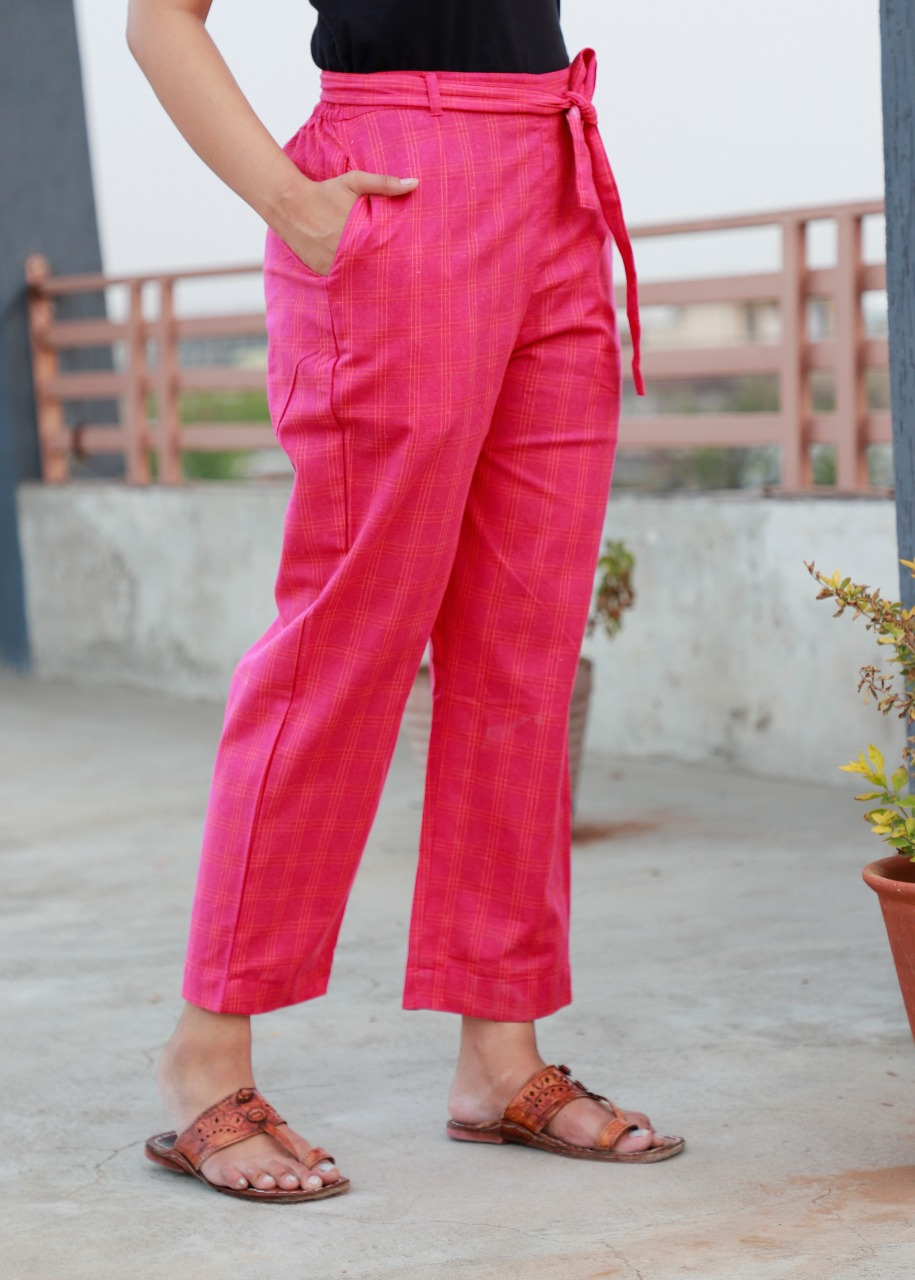 Pink Cotton Checks Women Pants with Loose Belt-33242