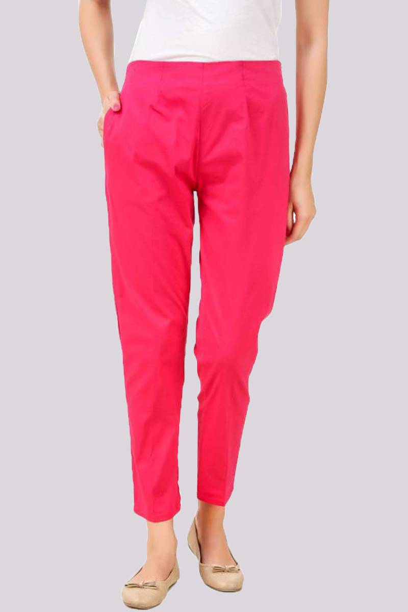 Pink Cotton Flex Pant with Side Chain and Pocket-33388