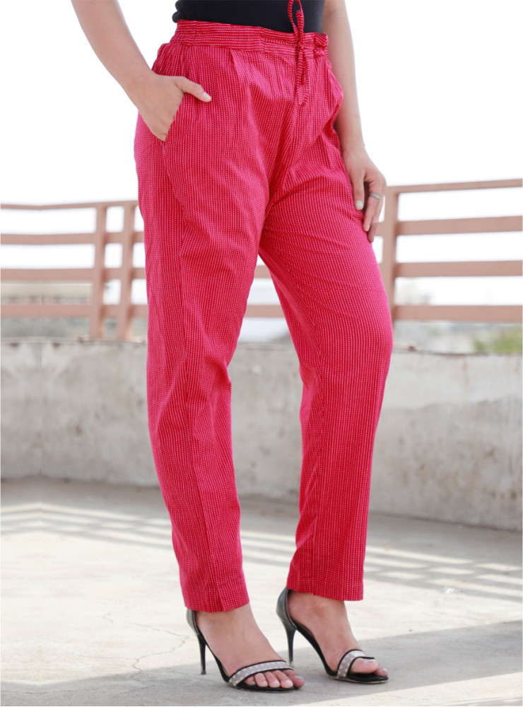 Pink Cotton Kantha Narrow Pant-33472
