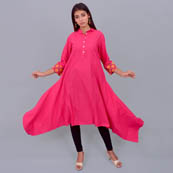 Pink Cotton Kurti With Asymetric-22014