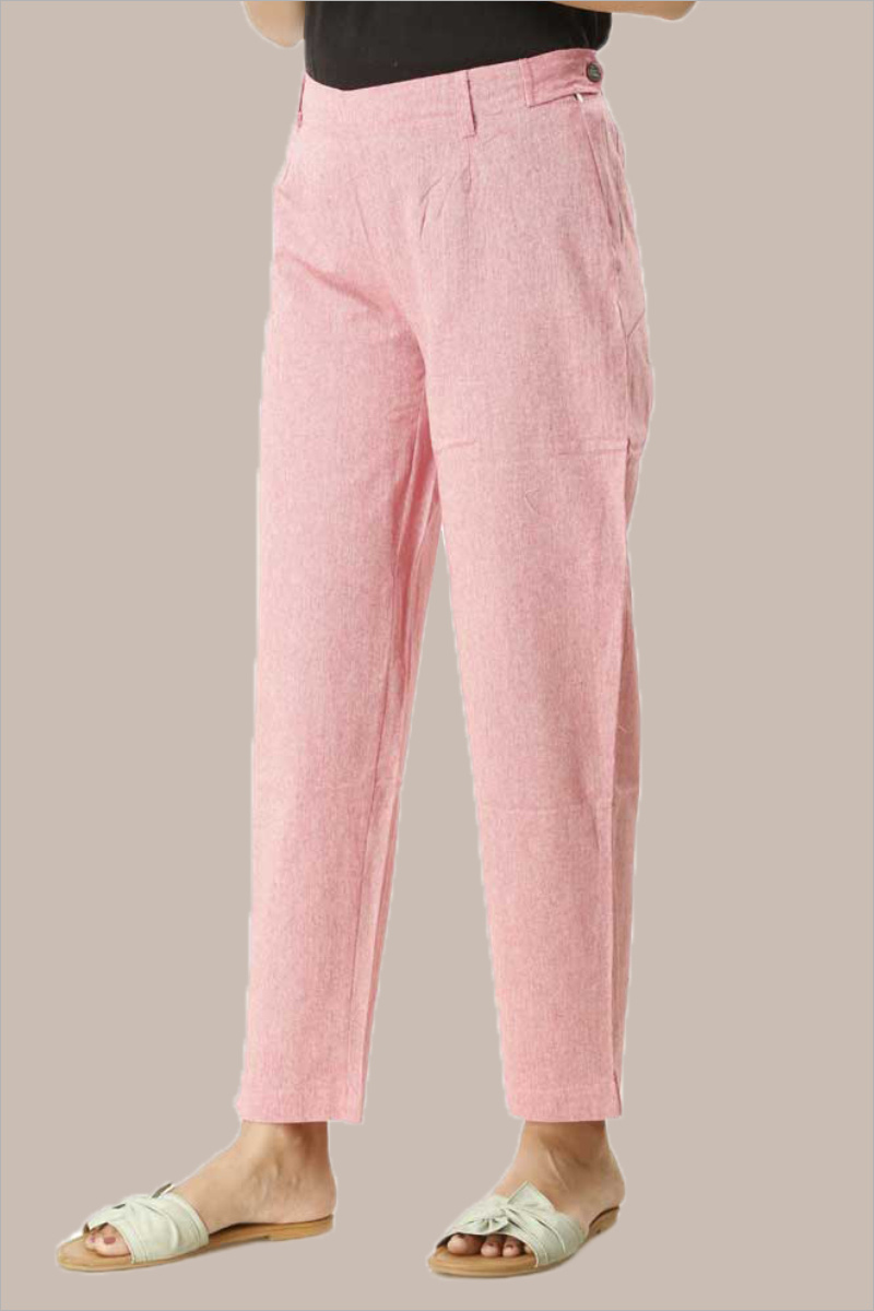 Pink Cotton Samray Ankle Length Pant-33711