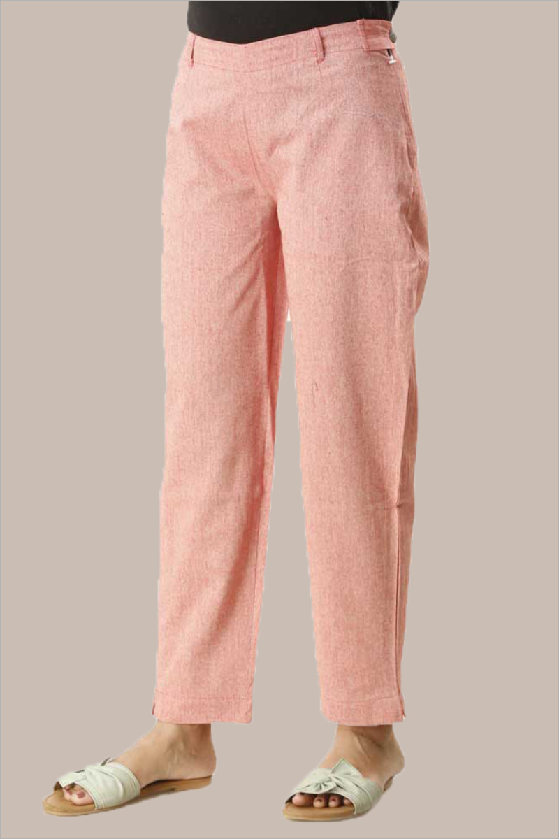 Pink Cotton Samray Ankle Length Pant-33715
