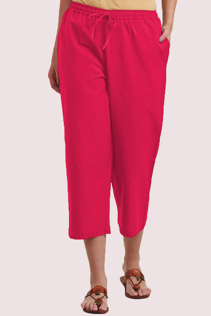 Pink Cotton Solid Women Culottes-33861