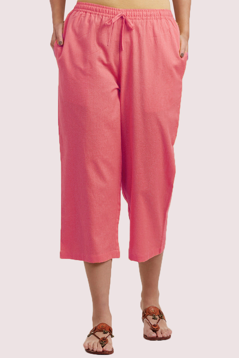 Pink Cotton Solid Women Culottes-33323