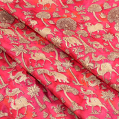 Pink-Cream and Golden Jam Cotton  Silk Fabric-75131