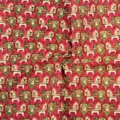 Pink-Cream and Green Cotton Kalamkari Fabric-10114