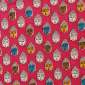 Pink-Cream and Yellow Buddha Design Cotton Kalamkari Fabric-10006