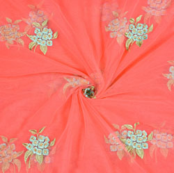 Pink Cyan and Green Floral Net Embroidery Fabric-19268