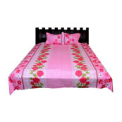 Pink Floral  Print Cotton Double Bed Sheet -0KG9