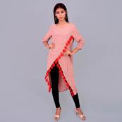 Pink Geoeggette Kurti With Tassle-22037