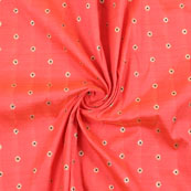 Pink Golden Brocade Silk Fabric-8962