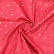 Pink Golden Brocade Silk Fabric-8969