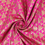 Pink Golden Brocade Silk Fabric-8970
