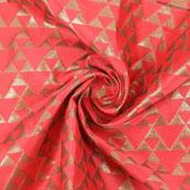 Pink Golden Brocade Silk Fabric-8971