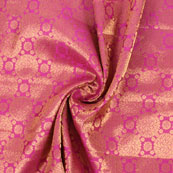 Pink Golden Brocade Silk Fabric-8974