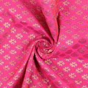 Pink Golden Brocade Silk Fabric-8980