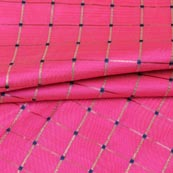 Pink Golden Checks Zari Brocade Silk Fabric-9300