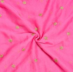 Pink Golden Embroidery Silk Chiffon Fabric-18644