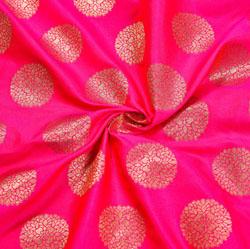 Pink Golden Circle Brocade Silk Fabric-12046