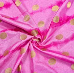 Pink Golden Circle Brocade Silk Fabric-12142