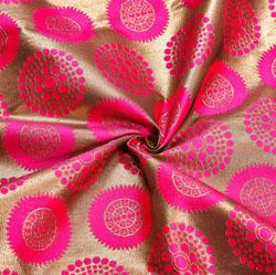 Pink Golden Circle Brocade Silk Fabric-12233