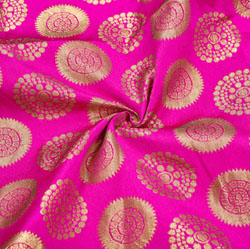 Pink Golden Circle Brocade Silk Fabric-12416