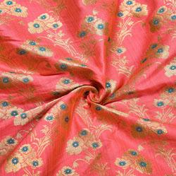 Pink Golden Floral Banarasi Silk Fabric-12155