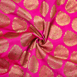 Pink Golden Floral Brocade Silk Fabric-12108