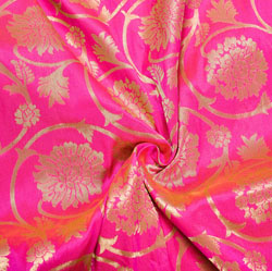 Pink Golden Floral Brocade Silk Fabric-12129