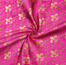 Pink Golden Floral Brocade Silk Fabric-12273
