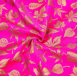 Pink Golden Floral Brocade Silk Fabric-12350