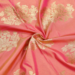 Pink Golden Floral Brocade Silk Fabric-12356