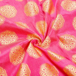 Pink Golden Floral Brocade Silk Fabric-12512