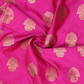 Pink Golden Floral Brocade Silk Fabric-9109