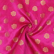 Pink Golden Floral Jacquard Brocade Silk Fabric-9137