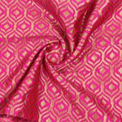 Pink Golden Floral Jacquard Brocade Silk Fabric-9139