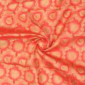 Pink Golden Floral Jacquard Brocade Silk Fabric-9150