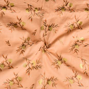 Pink Golden Floral Jam Cotton Fabric-15144