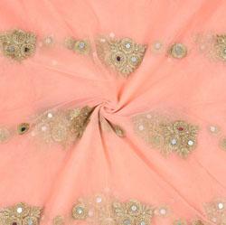 Pink Golden Floral Net work Fabric-19003