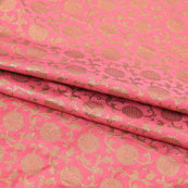 Pink Golden Flower Brocade Silk Fabric-9071