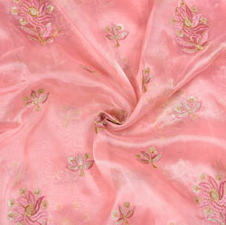 Pink Golden Flower Organza Embroidery Fabric-22196