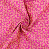 Pink Golden Jacquard Cotton Fabric-9014