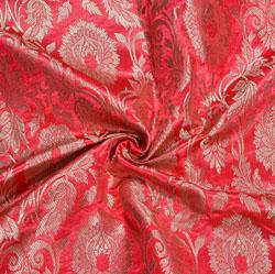Pink Golden Kinkhab Banarasi Silk Fabric-12010