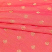 Pink Golden Leaf Brocade Silk Fabric-9240